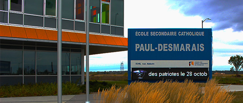 UTG's LED Sign at École secondaire catholique Paul- Desmarais in Kanata