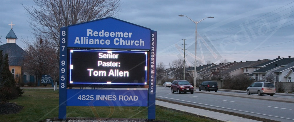 An LED Pylon for Redeemer's church has been installed by UTG Digital Media