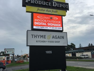 A new LED Sign from UTG Digital Media lights up the pylon of Produce Depot, Carling Ottawa
