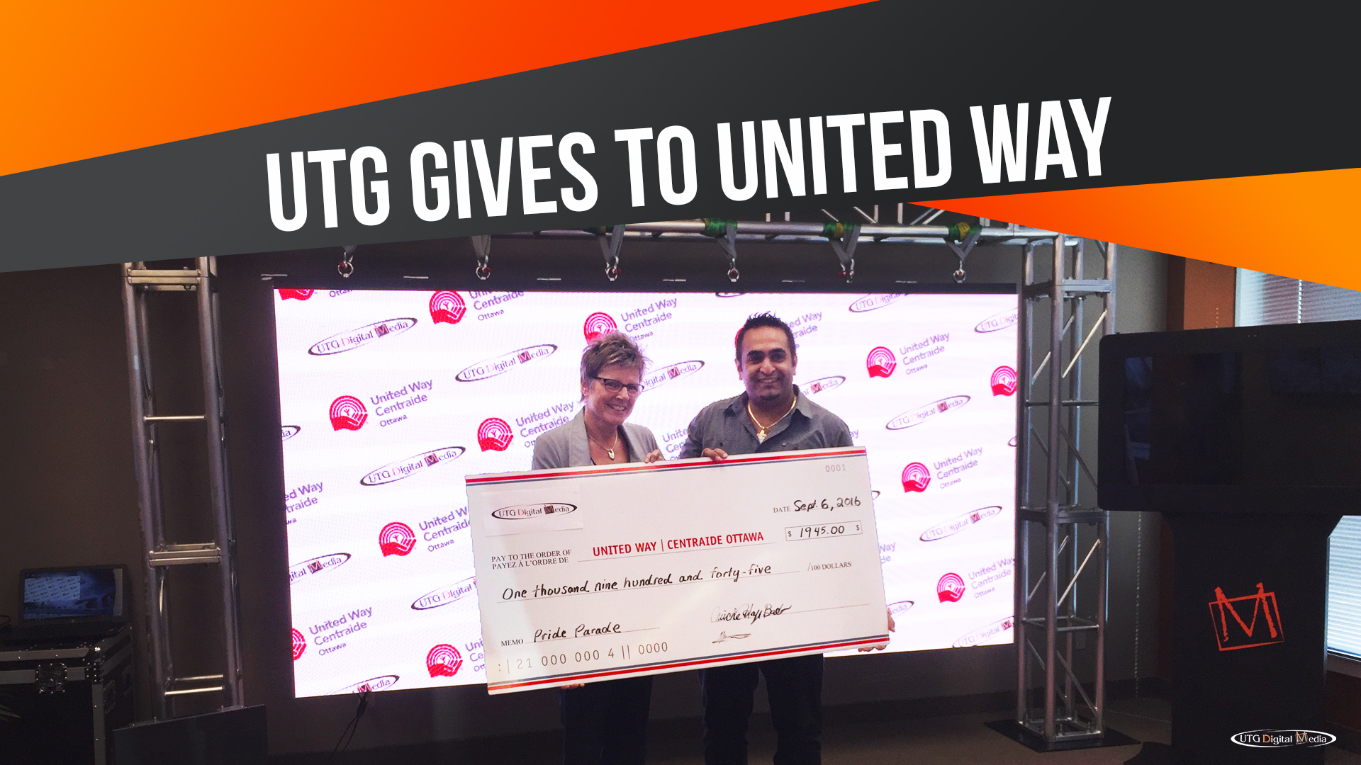 UTG Digital Media Supports United Way Ottawa