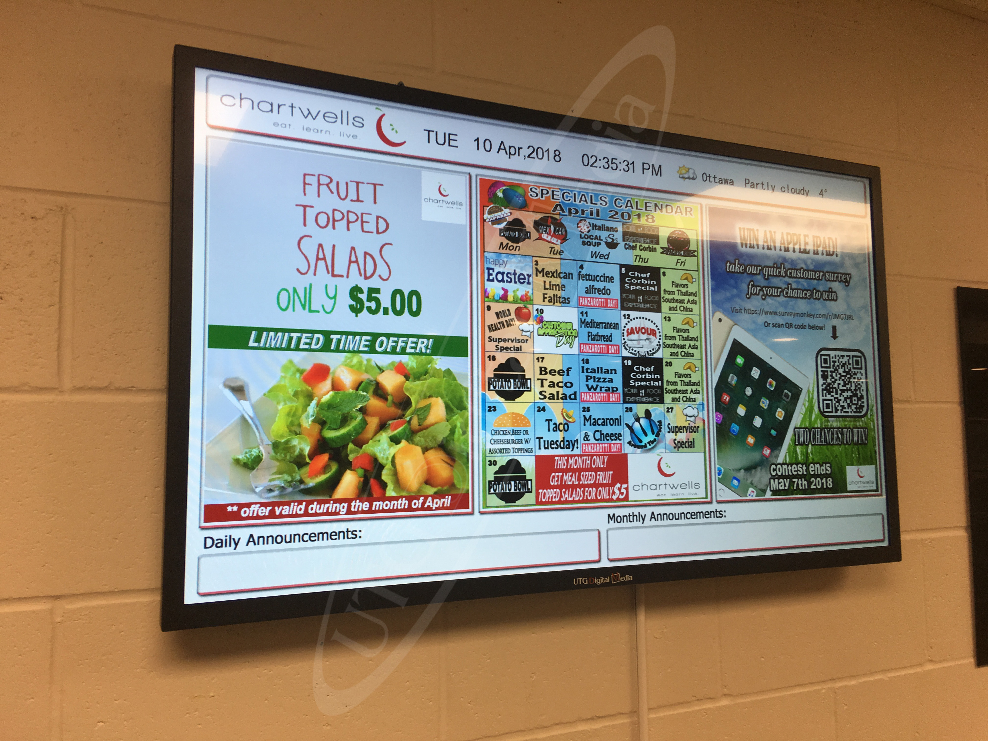 Compass Group – Wall Mounted LCD Screen