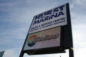 A UTG Outdoor LED Pylon sign at Hurst Marina
