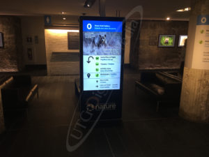 A UTG LCD Standup screen in the Museum of Nature showing an exhibit