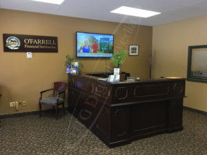 A UTG Wall Mounted LCD Screen at the O'Farrell Financial