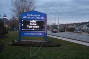 A UTG Outdoor LED Pylon sign at Redeemer Church