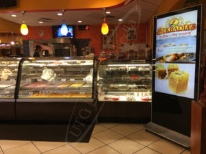 A UTG LCD Standup Screen in Sukhadia's, located in New Jersey