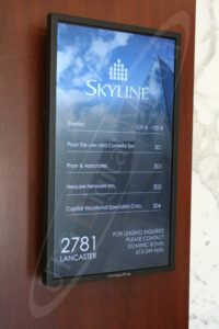 A UTG Wall Mounted LCD Screen at UTG Skyline Directory