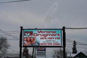A UTG Outdoor LED Pylon sign at Verona Drug Mart