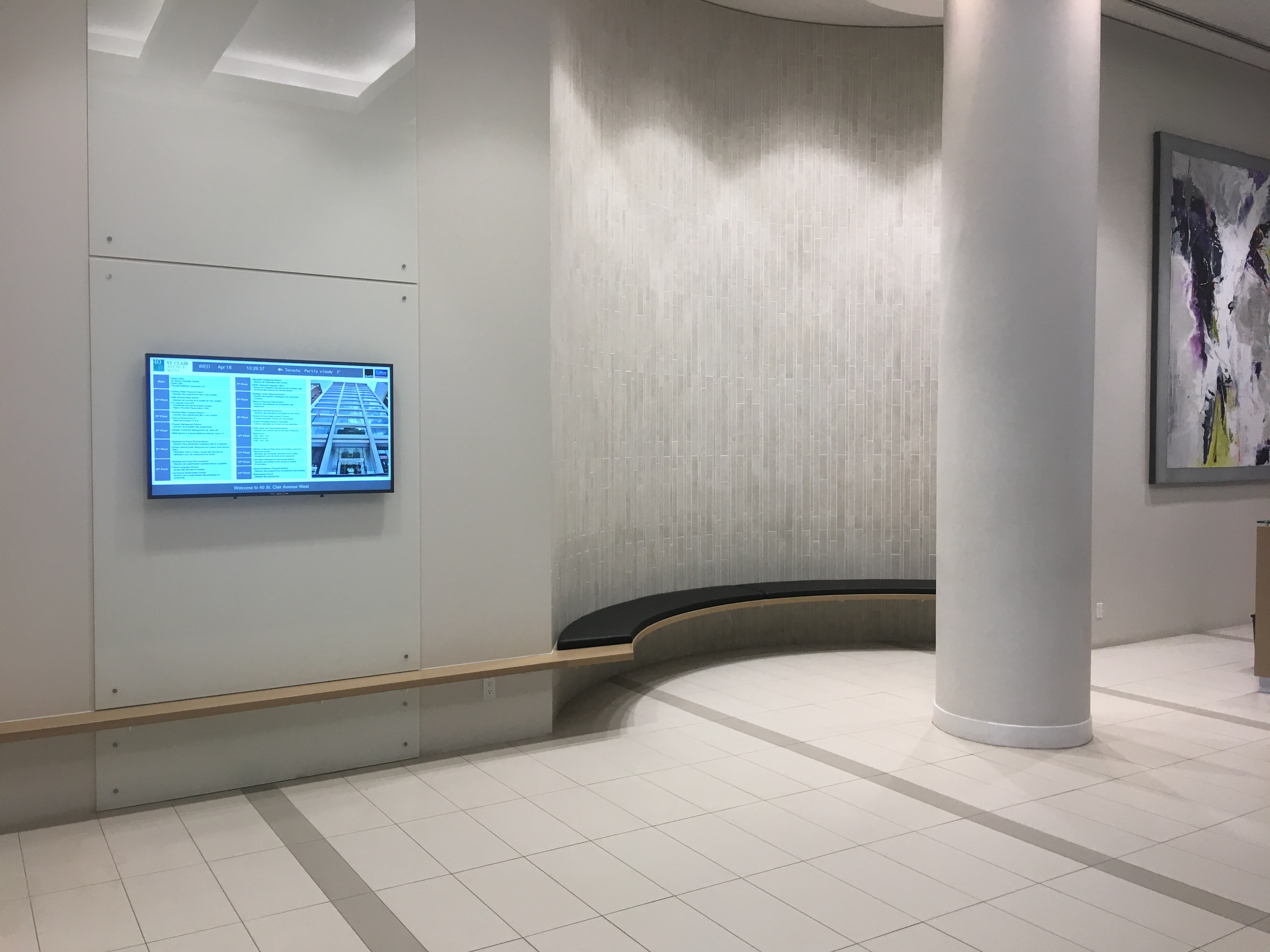 40 St-Clair Toronto – Wall Mounted LCD Screen