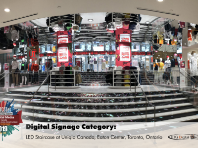 UTG's LED Staircase project at UNIQLO recognized as one of the best projects in Canada!