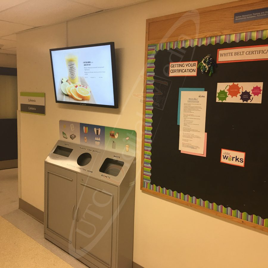 A UTG Wall Mounted LCD Screen at Cheo Hospital